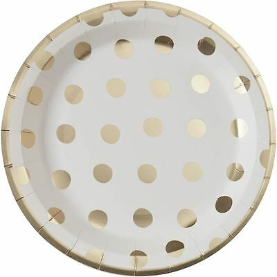 Hobbycraft Gold Foil Polka Dot Paper Plates 8 Pack Party Birthday Tableware