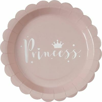 Hobbycraft Pink Princess Paper Plates 8 Pack Party Birthday Catering Tableware