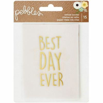 Pebbles Spring Fling Gold Foil Vellum Quote Cards 15 Pieces Cardmaking Scrapbook