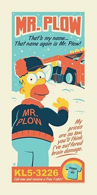 The Simpsons Mr Plow Poster Screen Print Dave Perillo Season 4 SIGNED #/250