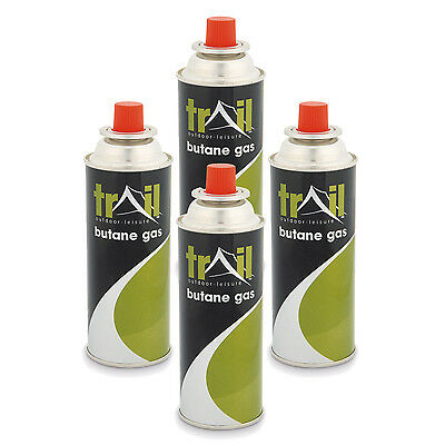 4 x Butane Gas Bottle Canisters for Trail Camping Heater and Stove Camp Cooker