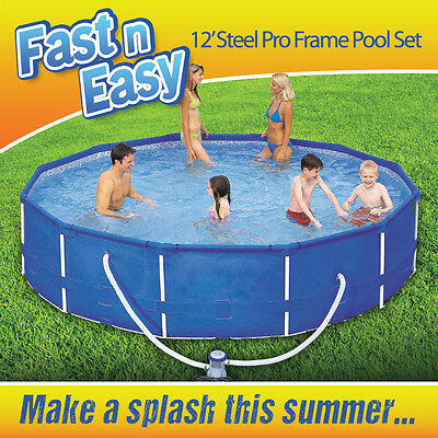 12ft Steel Frame Family Garden Swimming Pool With Filter Pump Fast N Easy Ø366cm