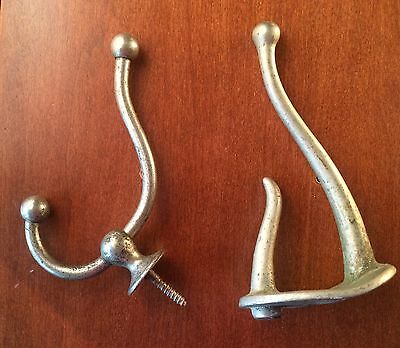 Qty 2 Antique Coat Hat Iron Silver Metal Hooks Steampunk