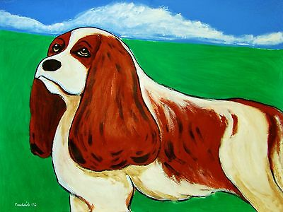 King Charles Cavalier Spaniel Painting Large Dog Portrait Abstract Pet Art Puppy