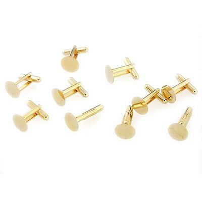 "10 Gold Tone Cufflinks Cuff Link Backs Blanks 0.71x0.47"" AD"