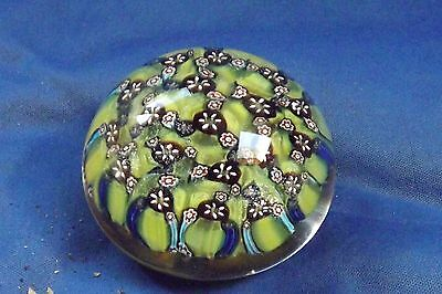 Vintage Glass Millefiori Paperweight Murano or Bohemian Mint