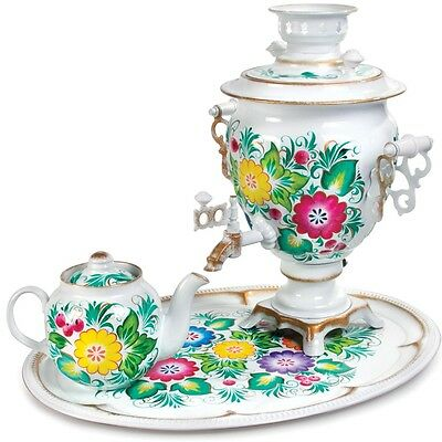Samovar Electric US 110 V Made in Russia Flowers Pattern, White Background