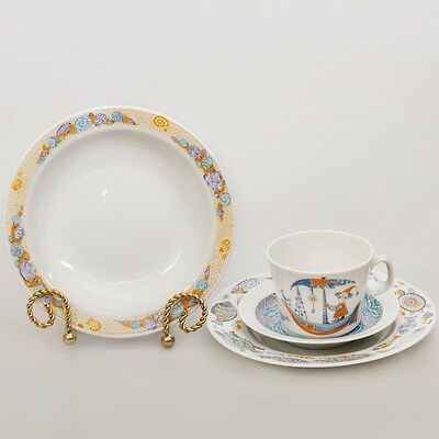 Imperial Lomonosov Porcelain Children's Sea Travels Set (teacup saucer 2 plates)