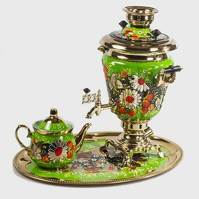 Samovar Electric US 110 V Made in Russia Daisies on a Green Background