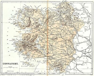 Antique Colour Map, Ireland, Connaught, County Of Connaught 1868