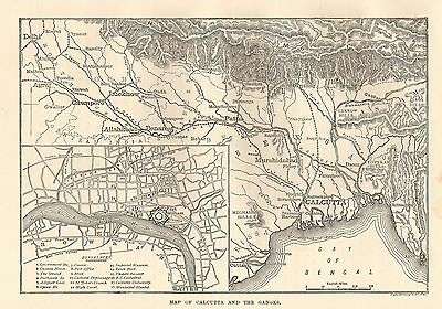 Antique Engraved Map/plan, India, Calcutta And The Ganges 1880