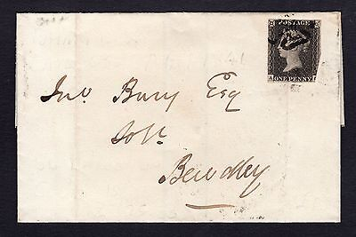 QV Sg3, 1d GREY BLACK, PLATE 11, light MX cancel, ON COVER, VERY RARE CAT £16000