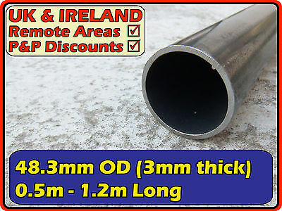 "Mild Steel Round Tube (pipe,metal post, pole)| 48.3mm (<50mm <2"") 3mm 