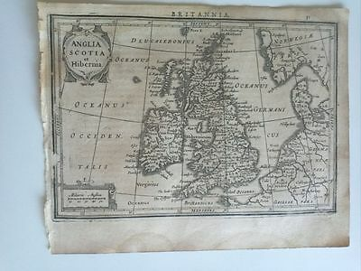 1634 Mercator Hondius Anglia Scotia et Hibernia, Great Britain Ireland Map Mappa