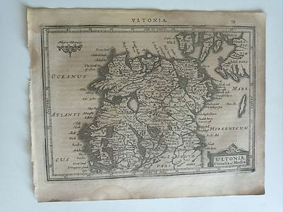 1634 Mercator Hondius: Ultonia Conatiaet Media, Ireland Irlanda Nord North Map