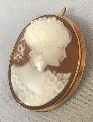 14K Gold Italian Shell Cameo Pendant And Brooch