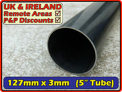 "Mild Steel Round Tube (metal pipe chimney flue) 127mm (>125mm) 5"" 3mm 