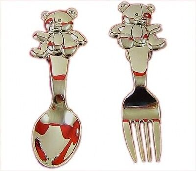 Baby's Silver Plated Teddy 'Fork and Spoon' - Christening Gift Set