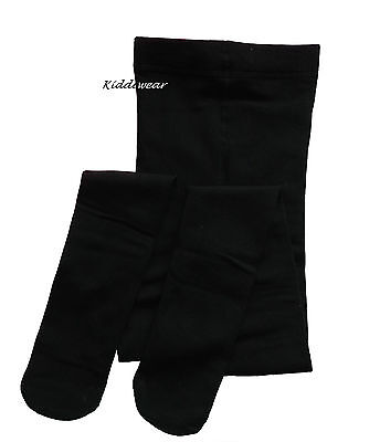 Plain BLACK THERMAL TIGHTS 7-8 or 9-10 years winter fleecey thick school girls
