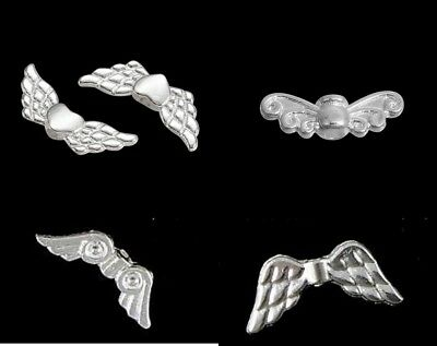 ❤ BRIGHT Silver Plated ANGEL WING Spacer Beads Choose Design Jewellery Making ❤