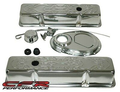 1958-86 Chevy Sb 283-305-327-350 Chrome Steel(Tall) Engine Dress Up Kit Flamed