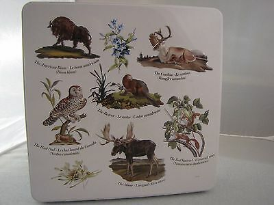 Hudson Bay Company HBC Pattern Canada White Cookie Tin Metal Container Chocolate