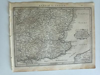 1634 Mercator Hondius: Warwicum Northamtonia.. Canterbury Southampton Sussex Map