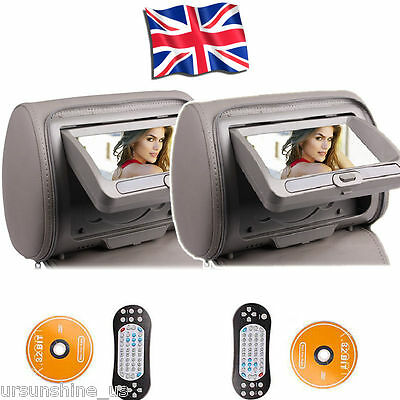5.1x17.8cm CAR Headrest Monitor Dual IR DVD player For Backseat TV FM RADIO Game