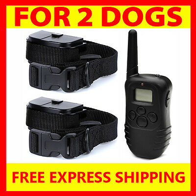 300M Pet Remote Training Anti Bark Vibration Stop Barking Collar For 2 Dogs