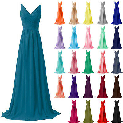 STOCK Long Chiffon Formal Prom Party Evening Wedding Bridesmaid Dress Size 6-18