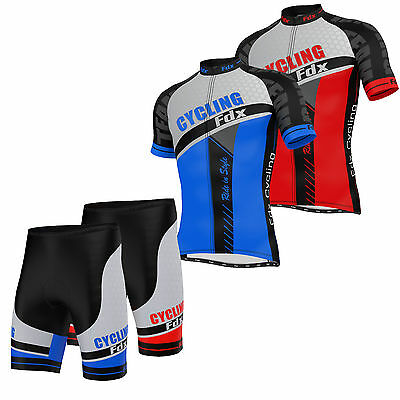 FDX Mens Cycling Shorts Padded Cycling Jersey Half sleeve Top Outdoor Biking Set
