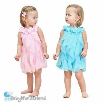 Baby Girls 2 Colours Flower Collar Tulle Cotton Lining Dress size 0-2Y