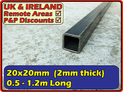 "Mild Steel Square Tube (box iron, section) | 20x20mm (3/4"") 20mm 2mm 