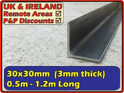 Mild Steel Angle Section (L iron,metal,bracket)| 30x30mm (30mm) 3mm | metre ft +