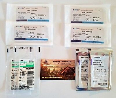 Suture Surgical Laceration Xeroform Dressing Survival Pack Suture Steri-Strip