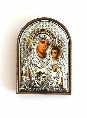 Greek Russian Orthodox Silver Icon Jerusalem Mother of God 6x4cm