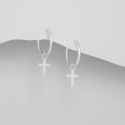 925 Sterling Silver Hoops with Removable Cross Charms Earrings in Box