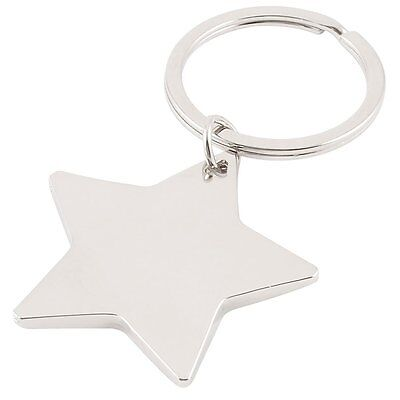 Five Pointed Star Shaped Pendant Keychain Silver Tone Ad