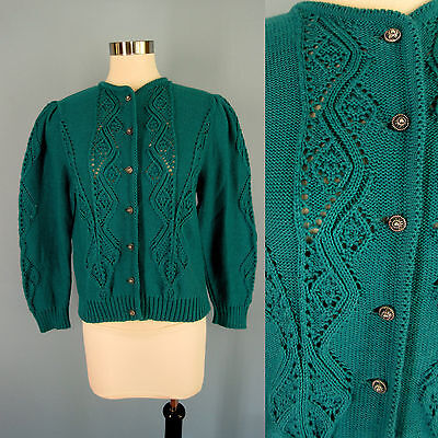 Vintage 80's Teal Wool Blend Puff Sleeve Open Cable Cardigan Sweater German M