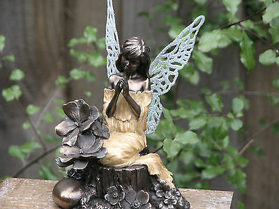 Genesis Little Fairies ~ Prayers, Bronzed with Glittered Metal Wings