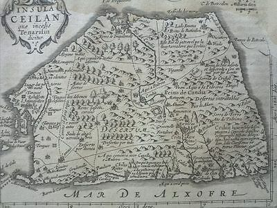 1634 Mercator Hondius: Insula Ceilan, Ceyon Sri Lanka Island Indian Ocenan Map