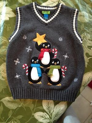 Greendog Kids Xmas Holiday Chilly Willy Penguin Sweater Vest 100% Cotton Size 5