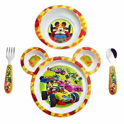 4 PCS Feeding Set Kids Dinnerware Fork Spoon 3 Section Plate Disney Baby Mickey