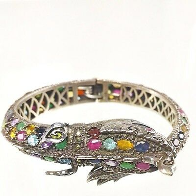 Thai Serpent Bracelet With Color Gems Believed Bring Great Abundance Ascendancy