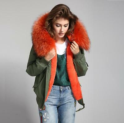 Women REAL FUR Hood BOMBER Coat Army Jacket Parka
