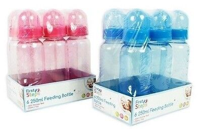 First Steps Pack of 6 250ml Baby Bottles Silicone Teat BPA Free Blue Pink New