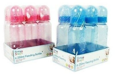 Pack of 6 250ml Baby Bottles Silicone Teat Ideal New Born BPA Free Blue Pink