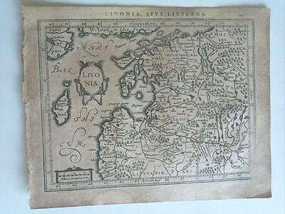 1634 Mercator Hondius: Livonia Letonia Estonia Riga Baltic Latvia Map Mapa Carte