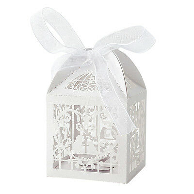 50x Dragees Box Candy Heart White Bird Cage for Wedding Baptism_x000D_ ED