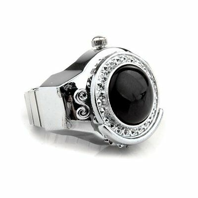 Stretchy Black Round Agate Gem Finger Ring Watch 20mm HOT ED